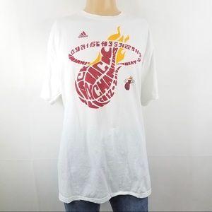ADIDAS White Miami Heat Basketball Cotton Shirt XL